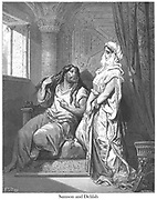 Samson and Delilah Judges 16:17 From the book 'Bible Gallery' Illustrated by Gustave Dore with Memoir of Dore and Descriptive Letter-press by Talbot W. Chambers D.D. Published by Cassell & Company Limited in London and simultaneously by Mame in Tours, France in 1866