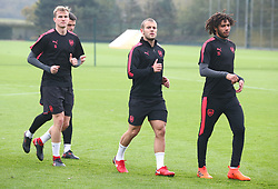 November 1, 2017 - London, England, United Kingdom - L-R Arsenal's Rob Holding, Arsenal's Jack Wilshere and Arsenal's Mohamed Elneny .during a Arsenal training session ahead of the UEFA Europa League Group H match against Red Star Belgrade (Crvena Zvezda)  at Arsenal training centre , London Colney on 1 Nov  2017 St.Albans, England  (Credit Image: © Kieran Galvin/NurPhoto via ZUMA Press)