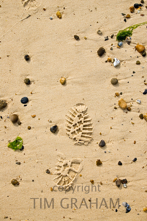 Footprint in the sand, Cley Beach, Norfolk, United Kingdom