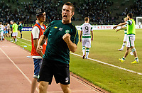 05/08/15 UEFA CHAMPIONS LEAGUE 3RD QUALIFIER 2ND LEG<br /> QARABAG FK V CELTIC<br /> TOFIQ BAHARMOV STADIUM - BAKU<br /> Celtic manager Ronny Deila celebrates at full-time