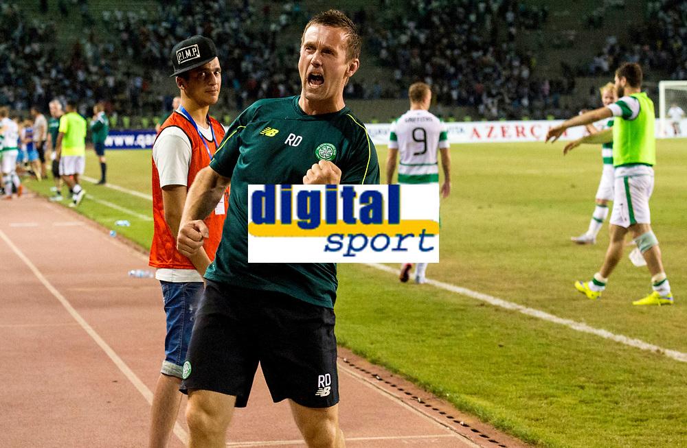 05/08/15 UEFA CHAMPIONS LEAGUE 3RD QUALIFIER 2ND LEG<br /> QARABAG FK V CELTIC<br /> TOFIQ BAHARMOV STADIUM - BAKU<br /> Celtic manager Ronny Deila celebrates at full-time