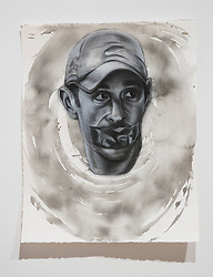 April 26, 2018 - Tampa, Florida, U.S. - A charcoal portrait of Parkland victim Scott Biegel, by Symone Hall in the BFA show at the Scarfone/Hartley Gallery at the University of Tampa, on April 26, 2018 in Tampa, Fla. (Credit Image: © Monica Herndon/Tampa Bay Times via ZUMA Wire)