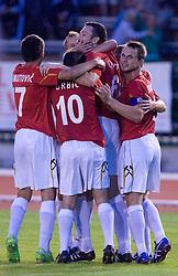 Fabijan Cipot, Almir Sulejmanovic celebrate at 1st Round of Europe League football match between NK Rudar Velenje (Slovenia) and Trans Narva (Estonia), on July 9 2009, in Velenje, Slovenia. Rudar won 3:1 and qualified to 2nd Round. (Photo by Vid Ponikvar / Sportida)