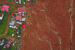 Aug. 17, 2017 - Freetown, Sierra Leone - Aerial photo shows the mudslide site where mudslides early Monday claimed more than 300 lives. (Credit Image: © Chen Cheng/Xinhua via ZUMA Wire)