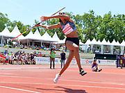 Nafi Thiam aka Nafissatou Thiam (BEL)  throws 155-0 (47.25m) in the heptathlon javelin during the DecaStar meeting, Saturday, June 23, 2019, in Talence, France. Thiam won with 6,819 points. (Jiro Mochizuki/Image of Sport via AP)