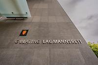 Skilting ved inngangen til Gulating lagmannsrett i Bergen.