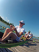 Munich, GERMANY,    General Views, GV's,  of the Boathouse and  Boating Area, GBR W8+  Louisa REEVE,  Boating for their morning training outing. 2012 World Cup III on the Munich Olympic Rowing Course,  Thursday  14/06/2012  [Mandatory Credit Peter Spurrier/ Intersport Images]..