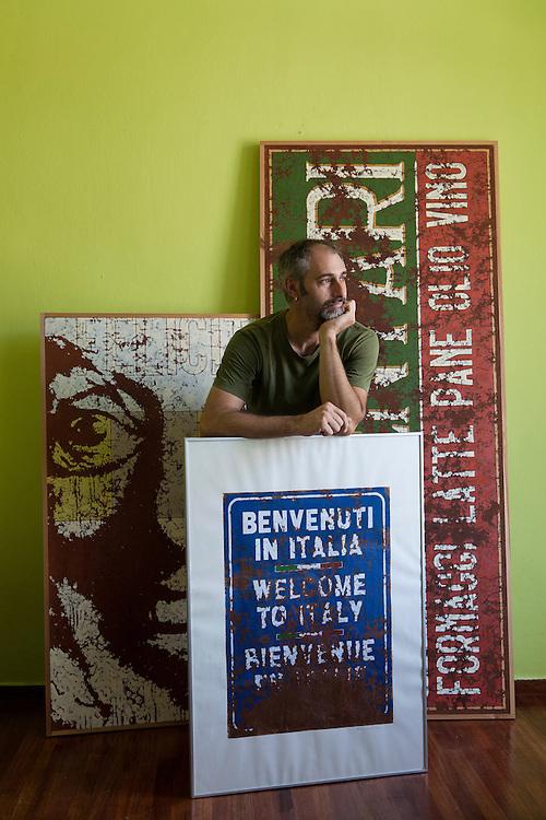 Nafplio, Greece, July 8, 2014. Francesco Moretti, Italin artist living in Nafplio.