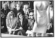 Linda Robinson, Sandy Pittman, Anne Bass. Calvin Klein Fashion Show/ 31 October 1989© Copyright Photograph by Dafydd Jones 66 Stockwell Park Rd. London SW9 0DA Tel 020 7733 0108 www.dafjones.com