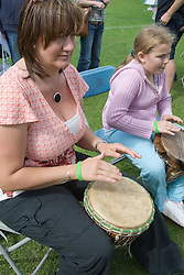 Drumming workshop at a Parklife summer activities event,