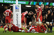 Kieran Reed of New Zealand (c) goes under the posts to score a try in 2nd half. Rugby World Cup 2015 pool c match, New Zealand v Georgia at the Millennium Stadium in Cardiff, South Wales  on Friday 2nd October 2015.<br /> pic by  Andrew Orchard, Andrew Orchard sports photography.