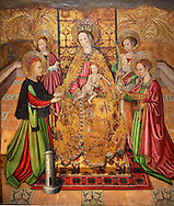 Gothic Altarpiece of Madonna and Child and the Saints  by Jaume Huguet of  Bardalona, circa 1455-1460, tempera and gold leaf on for wood from Santa Maria del Pi, Barcelona.  National Museum of Catalan Art, Barcelona, Spain, inv no: MNAC  37761-2-3-4-5. .<br /> <br /> If you prefer you can also buy from our ALAMY PHOTO LIBRARY  Collection visit : https://www.alamy.com/portfolio/paul-williams-funkystock/gothic-art-antiquities.html  Type -     MANAC    - into the LOWER SEARCH WITHIN GALLERY box. Refine search by adding background colour, place, museum etc<br /> <br /> Visit our MEDIEVAL GOTHIC ART PHOTO COLLECTIONS for more   photos  to download or buy as prints https://funkystock.photoshelter.com/gallery-collection/Medieval-Gothic-Art-Antiquities-Historic-Sites-Pictures-Images-of/C0000gZ8POl_DCqE