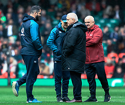 Head Coach Warren Gatland of Wales with Head Coach Joe Schmidt of Ireland and Andy Farrell<br /> <br /> Photographer Simon King/Replay Images<br /> <br /> Six Nations Round 5 - Wales v Ireland - Saturday 16th March 2019 - Principality Stadium - Cardiff<br /> <br /> World Copyright © Replay Images . All rights reserved. info@replayimages.co.uk - http://replayimages.co.uk