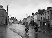 30/03/1957 <br /> Views of towns in Ireland. Main Street, Mountrath, Co. Leix (Laois), with Market House on left.