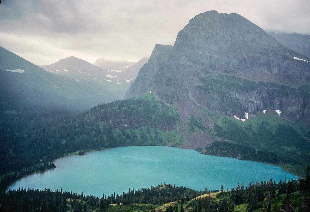 Grinnell Lake, summer storm, Glacier National Park, Montana, USA
