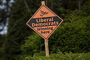 A campaign sign for the Liberal Democrat candidate Sarah Green is pictured on the eve of the Chesham and Amersham by-election on 16th June 2021 in Chesham, United Kingdom. The by-election was triggered by the death of Dame Cheryl Gillan, who had been the constituency's MP for 29 years, and it is expected to be a tight race between the Conservatives and the Liberal Democrats.