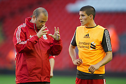LIVERPOOL, ENGLAND - Wednesday, August 17, 2011: Liverpool's reserve team head coach Rodolfo Borrell with captain Conor Coady during the first NextGen Series Group 2 match against Sporting Clube de Portugal at Anfield. (Pic by David Rawcliffe/Propaganda)