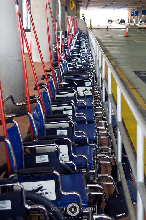 Airport wheelchair storage area, Palm Beach International Airport, departure level.