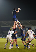 Sale Sharks second-row Bryn Evans catches a line out during his sides 39-0 win during a Gallagher Premiership Rugby Union match, Friday, Mar. 6, 2020, in Eccles, United Kingdom. (Steve Flynn/Image of Sport)