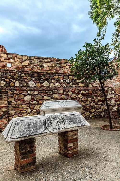 The tombs in the Alcazaba of Málaga in Malaga, Spain. The Alcazaba of Málaga is the best-preserved Moorish fortress palace in Malaga, Spain.