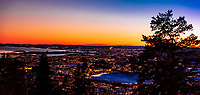 Panoramic high angle view of Oslo and the Oslo fjord, Norway.