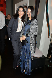 Left to right, YASMIN MILLS and AYTAN ELDAROVA at the mothers2mothers Mother's Day Tea hosted by Nadya Abela at Morton's, Berkeley Square, London on 12th March 2015.  mothers2mothers is a charity working to eliminate mother to child transmission of HIV/AIDS across sub-Saharan Africa.