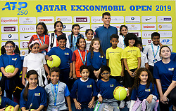 Dominic Thiem of Austria poses with kids after the press conference ahead of the ATP Qatar Open tennis tournament 2019 at the Khalifa International Tennis Compl?ex in Doha, capital of Qatar, on December 31, 2018. Qatar Open run from December 31,2018 to January 05, 2019  (Credit Image: © (XinhuaNikkuXinhua via ZUMA Wire)