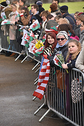 ©Licenced to London News Pictures. 18/01/2018. Cardiff, Wales, UK. Crowds at Cardiff Castle wait for Prince Harry and Meghan Markle on their first official visit to Wales since announcing their engagement. The prince and his intended will tour a cultural festival at the historic site. Photo credit IAN HOMER/LNP