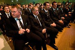Matjaz Kek, Milan Miklavic, Samir Handanovic, Jasmin Handanovic at official presentation of Slovenian National Football team for World Cup 2010 South Africa, on May 21, 2010 in Congress Center Brdo at Kranj, Slovenia. (Photo by Vid Ponikvar / Sportida)