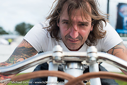 Rick Petko on his 1919 Indian Power Plus at Billy Lane's Sons of Speed vintage motorcycle racing during Biketoberfest. Daytona Beach, FL, USA. Saturday October 21, 2017. Photography ©2017 Michael Lichter.
