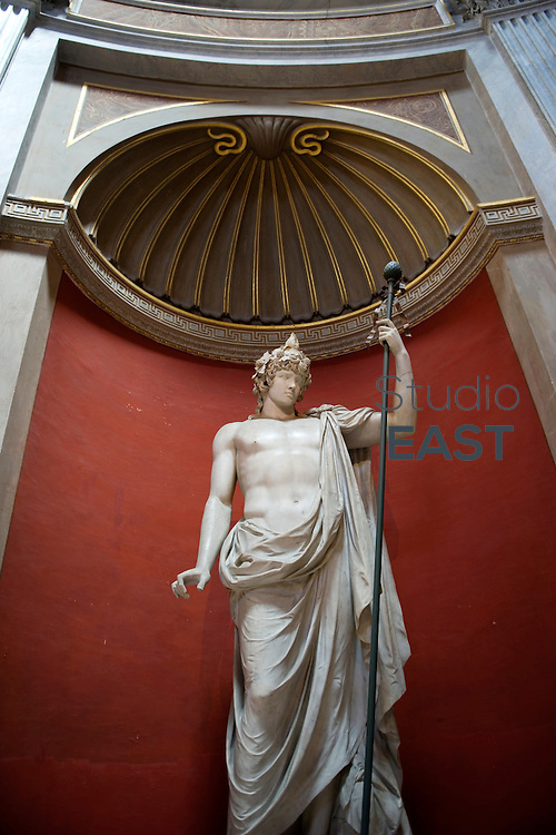 ROME, ITALY - AUGUST 04: A statue of Apollo is on display in the Museo Pio-Clementino, a part of the Vatican Museums on August 4, 2012, in Rome, Italy. Vatican City, a walled enclave within the city of Rome, with an area of approximately 44 hectares, and a population of 842, is the smallest internationally recognized independent state in the world. It is an ecclesiastical state ruled by the Bishop of Rome - the Pope. (Photo by Lucas Schifres/Getty Images)