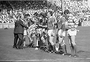 All Ireland Hurling Finals.1986..07.09.1986..09.07.1986..7th September 1986..September,every year,is the highlight of the GAA calendar with The All Ireland Finals being held in both codes. The senior and minor finals in each code are both played for on the same day. Each finalist has battled through provinical and knock out stages to reach the final.It is widely regarded as the pinnacle of a players career to reach and win an All Ireland Championship..In this years hurling finals,Cork played Offaly in the minor championship and a much fancied Galway team took on Cork in the senior final. Both matches were well fought and close encounters...In the senior hurling final Cork emerged victorious with a score of 4.13 (25) to Galways' 2.15 (21). .Photograph of the Cork senior hurling team being introduced to The President of Ireland Dr Patrick Hillery, by Cork captain, Tom Cashman..