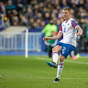 PARIS, FRANCE - March 25:  Birkir Mar Sævarsson #2 of Iceland in action during the France V Iceland, 2020 European Championship Qualifying, Group Stage at  Stade de France on March 25th 2019 in Paris, France (Photo by Tim Clayton/Corbis via Getty Images)