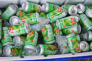 Cooler of Yeo's Wild Gourd Drink an authentic Asian beverage. Hmong Sports Festival McMurray Field St Paul Minnesota USA