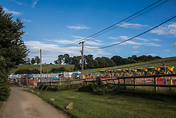 Chalfont St Giles, UK. 18th July, 2020. A temporary haul road and compound are prepared for use in the construction of a ventilation shaft for the Chiltern Tunnel on the HS2 high-speed rail link. The Department for Transport approved the issuing of Notices to Proceed by HS2 Ltd to the four Main Works Civils Contractors (MWCC) working on the £106bn rail project in April 2020.