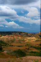 Painted Canyon Panorama. Theodore Roosevelt National Park. Image taken with a Nikon D3 and 85 mm f/2.8 PC-E lens (ISO 200, 85 mm, f/16, 1/40 sec). 1 of 9 images combined with AutoPano Giga and Dehaze Filter.