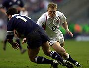 Twickenham, Surrey, 22nd March 2003,  RFU Twickenham Stadium, England, [Mandatory Credit; Peter Spurrier/Intersport Images]<br /> <br /> RBS Six Nations  Rugby England v Scotland<br /> Josh Lewsey right closes in on club mate Kenny Logan