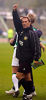 Photo: Alan Crowhurst.<br />Yeovil Town v Swansea. Coca Cola League 1. 08/10/2005. Yeovil coach Stevie Thompson salutes the crowd after victory.