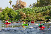 On June 1, 2013, George Wolfe and LA River Expeditions leads a kayak tour down the Los Angeles River. On Memorial Day, the Los Angeles River Pilot Recreational Zone officially opened to the public for kayaking, walking, birdwatching, and fishing along a 2.5 mile stretch of the river in the Elysian Valley. Los Angeles, California
