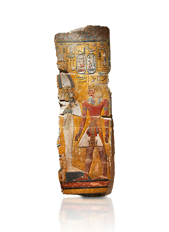 Egyptian painting on stucco of the defied Pharaoh Amenhotep I . 11152-1145BC, Thebes, Grab Nr 359. Neues Reiche Museum, Berlin. Cat No AM2061