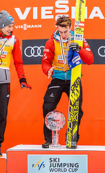 26.03.2017, Planica, Ratece, SLO, FIS Weltcup Ski Sprung, Planica, Siegerehrung, im Bild Kamil Stoch (POL, 2. Platz), Gesamtweltcup- und Skiflug Weltcup Sieger Stefan Kraft (AUT) // 2nd placed Kamil Stoch of Poland Overall World Cup and Ski Flying World Cup winner Stefan Kraft of Austria during the Winner Award Ceremony of the FIS Ski Jumping World Cup Final 2017 at Planica in Ratece, Slovenia on 2017/03/26. EXPA Pictures © 2017, PhotoCredit: EXPA/ JFK