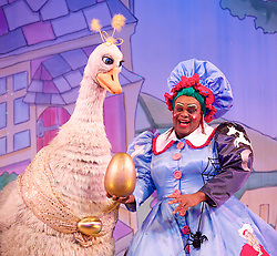 Mother Goose <br /> at the Hackney Empire, London, Great Britain <br /> press photocall<br /> 20th November 2014 <br /> <br /> Clive Rowe as Mother Goose <br /> <br /> Alix Ross as Priscilla (the Goose) <br />  <br /> <br /> <br /> Photograph by Elliott Franks <br /> Image licensed to Elliott Franks Photography Services