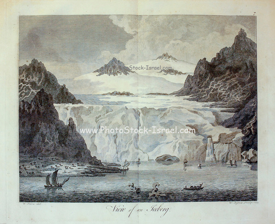 Iceberg illustration from the book '  A voyage towards the North Pole : undertaken by His Majesty's command, 1773 ' by Constantine John Phipps, Baron Mulgrave, 1744-1792; The 1773 Phipps expedition towards the North Pole was a British Royal Navy expedition in which two ships under the commands of Constantine John Phipps as Captain of the HMS Racehorse [an 18-gun ship-rigged sloop of the Royal Navy.] and Skeffington Lutwidge as Captain of the HMS Carcass [a bomb vessel of the Royal Navy], sailed towards the North Pole in the summer of 1773 and became stuck in ice near Svalbard. A young Horatio Nelson. was a midshipmen onboard the ' Carcass ' on this expedition
