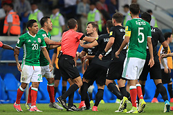Mexico and New Zealand players clash as tempers flare after a bad challenge