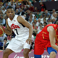 12 August 2012: USA Russell Westbrook drives past Spain Sergio Llull during 107-100 Team USA victory over Team Spain, during the men's Gold Medal Game, at the North Greenwich Arena, in London, Great Britain.