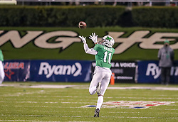 Dec 18, 2020; Huntington, West Virginia, USA; Marshall Thundering Herd tight end Xavier Gaines (11) catches a pass and runs for a touchdown during the fourth quarter against the UAB Blazers at Joan C. Edwards Stadium. Mandatory Credit: Ben Queen-USA TODAY Sports