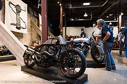 Roland Sand's custom Indian Chief during the Friday night opening of the Handbuilt Motorcycle Show. Austin, TX. April 10, 2015.  Photography ©2015 Michael Lichter.