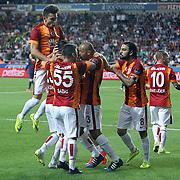Galatasaray's Yasin Oztekin celebrate his goal with team mate during their Turkish Superleague soccer match Mersin Idman Yurdu between Galatasaray at the Mersin stadium in Mersin Turkey on Sunday 12 May 2015. Photo by Aykut AKICI/TURKPIX
