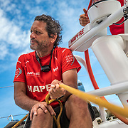 Leg 4, Melbourne to Hong Kong, day 12 on board MAPFRE, Joan Vila with the main sheet. Photo by Ugo Fonolla/Volvo Ocean Race. 13 January, 2018.
