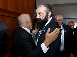 Sebastien Chabal reacts after the 2023 Rugby World Cup host union announcement at The Royal Garden Hotel, Kensington.